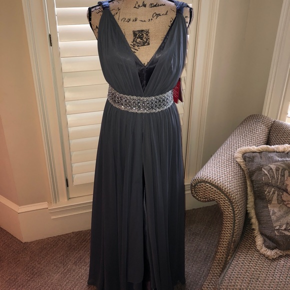 JS Collections Dresses | Nwt Slate Embellished Evening Gown | Poshmark